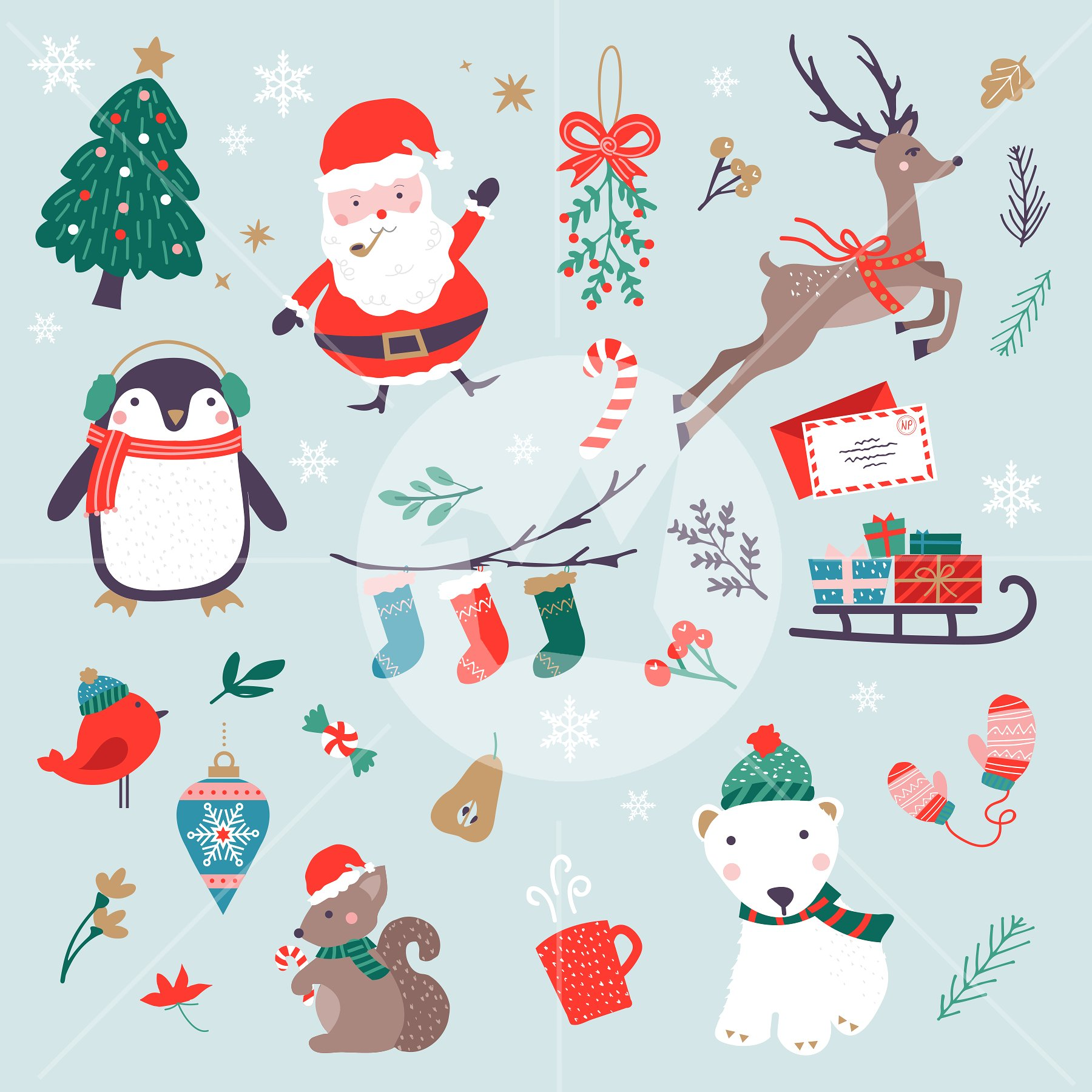 Characters clipart xmas. Christmas set objects creative