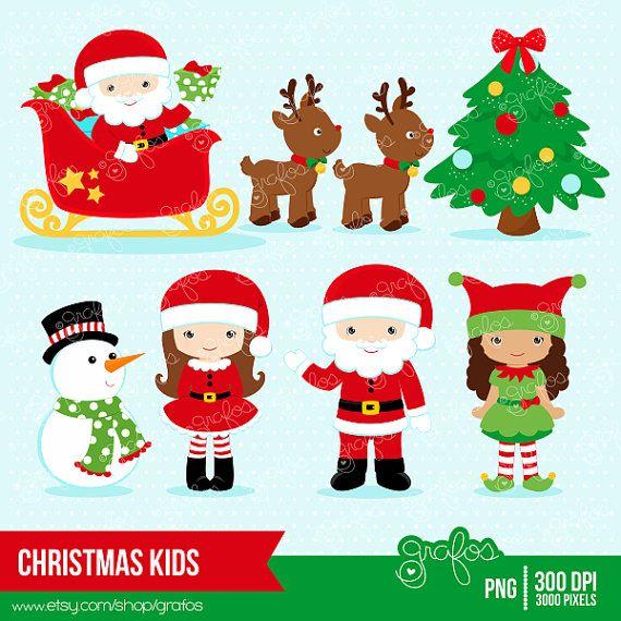 Christmas kids digital santa. Characters clipart xmas