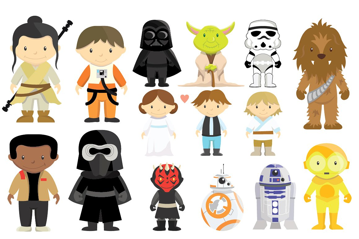 Starwars clipart. Star wars characters set
