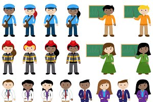 Career characters vectors illustrations. Careers clipart illustration