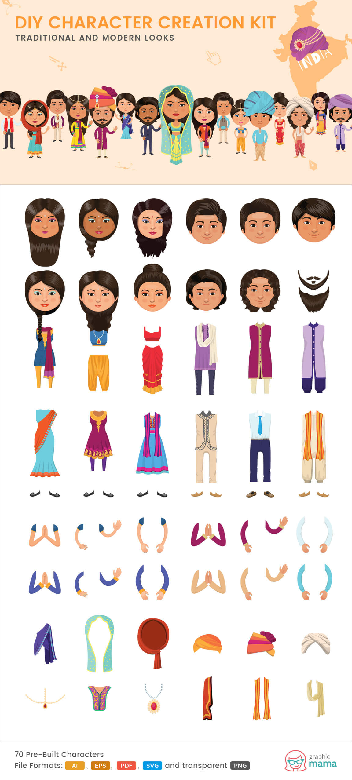 Characters clipart. Character a collection for
