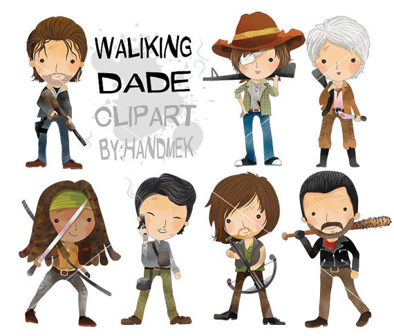 Characters clipart. Walking dead instant download