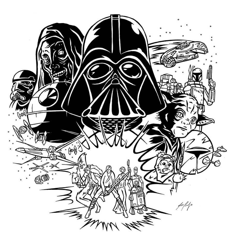 Characters clipart black and white. Darth vader stencil star