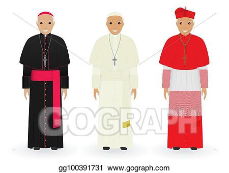 Characters clipart characteristic. Vector art pope cardinal