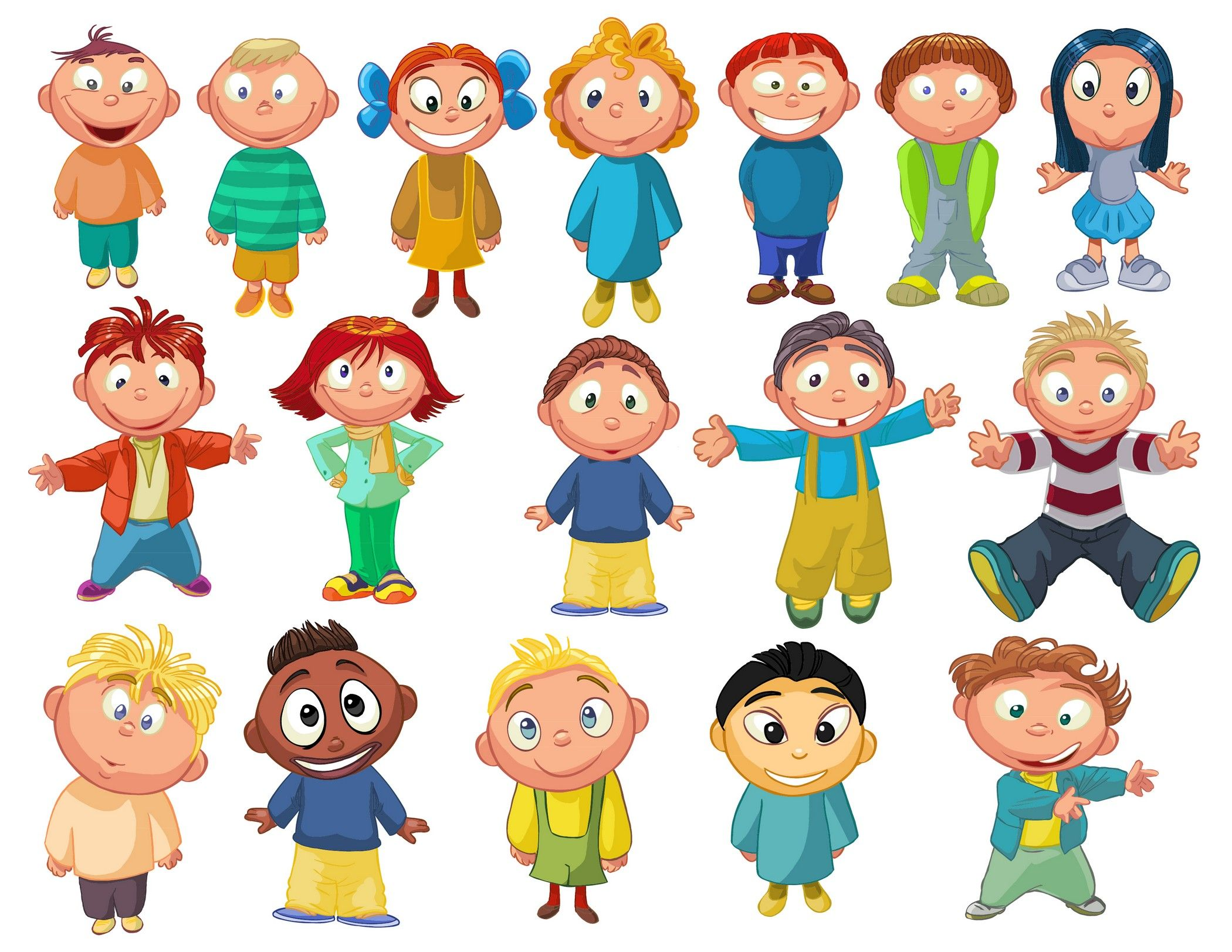 Characters clipart children's. Cartoon children kids people