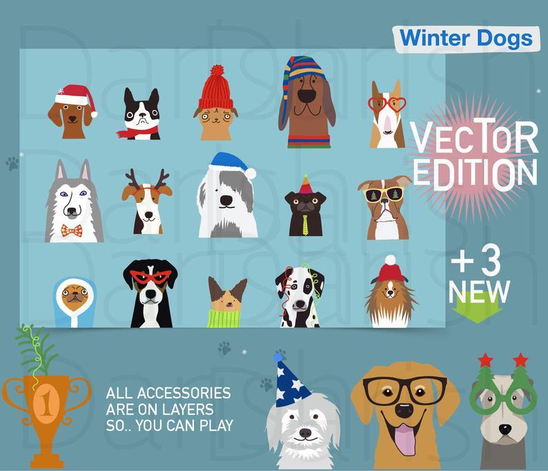 Clipart dogs winter. Dog clip art animal