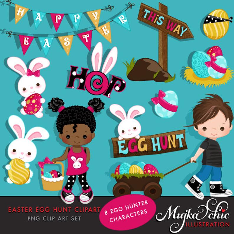 Egg hunt with cute. Characters clipart easter