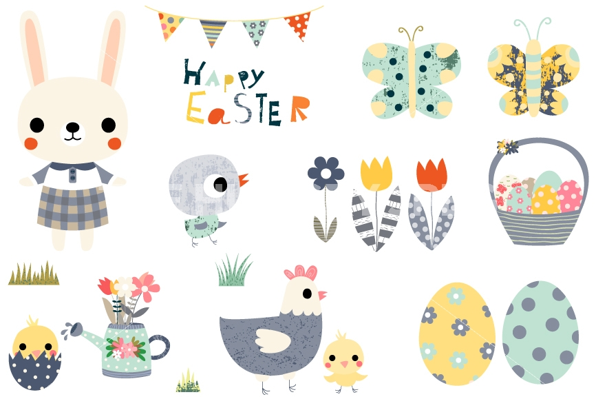 Cute set happy design. Characters clipart easter