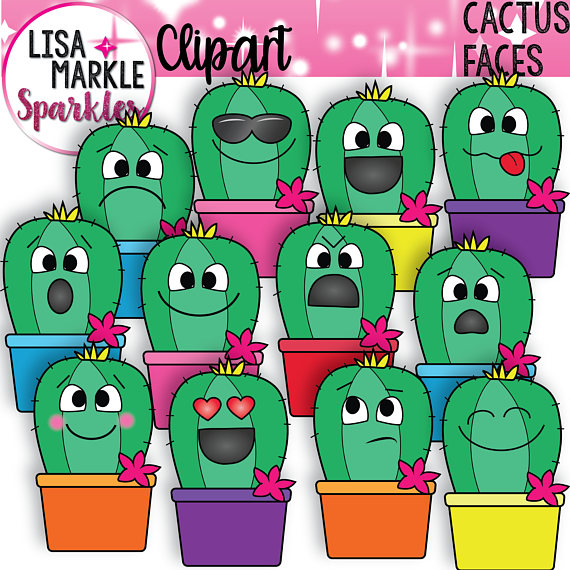 Emoji emotions face cactus. Characters clipart emotion