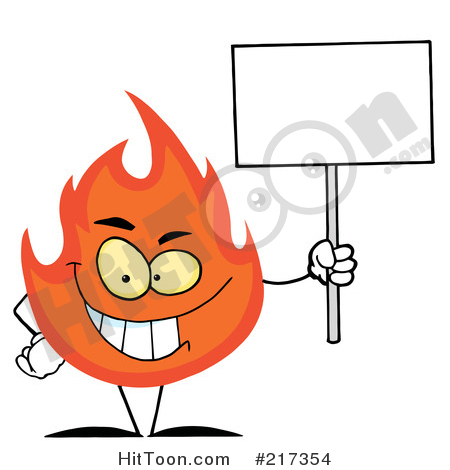 Grinning character holding a. Characters clipart flame