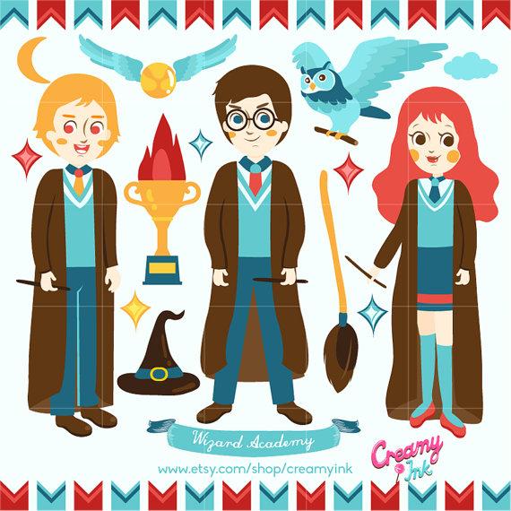 Characters clipart harry potter. Digital vector clip art