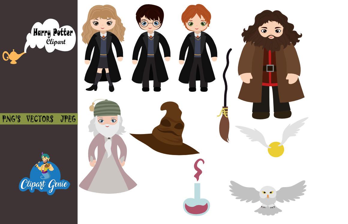 Characters clipart harry potter. Wizard bundle school of