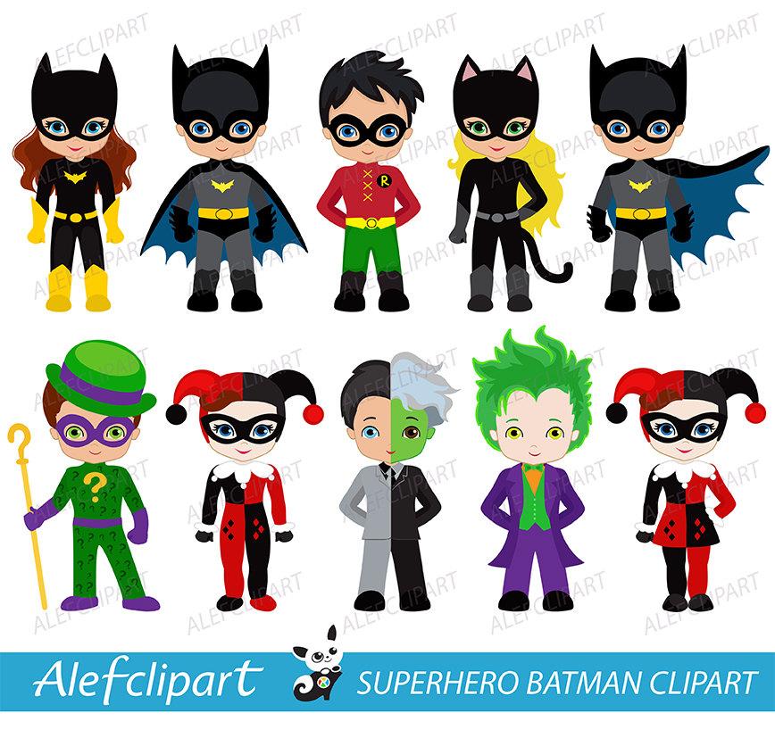 Superhero digital clip art. Characters clipart hero