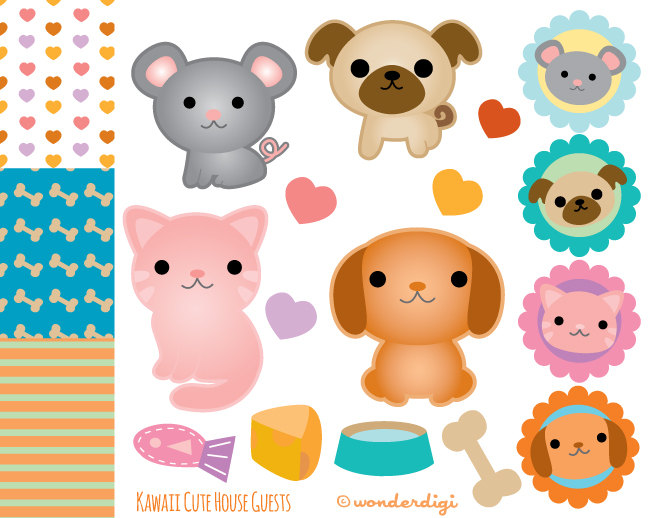 Animals clipart kawaii. Pets animal clip art