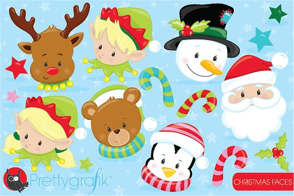 Characters clipart xmas. Christmas faces illustrations creative