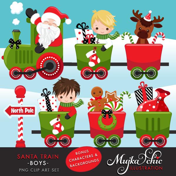 Characters clipart xmas. Christmas santa train boys