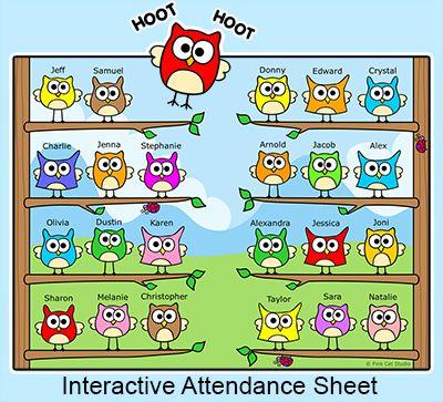 Owl theme for all. Attendance clipart classroom attendance