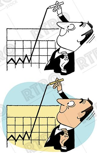 Chart clipart clip art. Businessman drawing a line