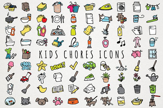 Chart clipart daily. Kids chores icons set
