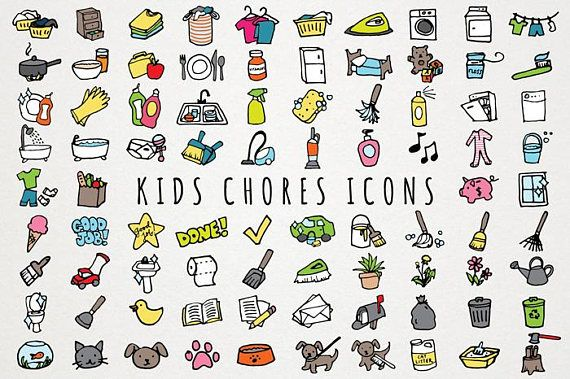Kids chores icons set. Chart clipart daily