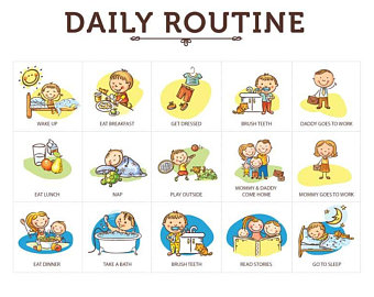 Toddler routine etsy custom. Chart clipart daily