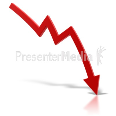 Red arrow point down. Chart clipart downward
