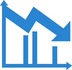 Upward trend simplicity icon. Chart clipart downward