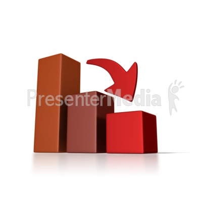 Graph down trend business. Chart clipart downward