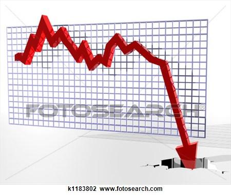 Chart clipart downward. Stock market group crash