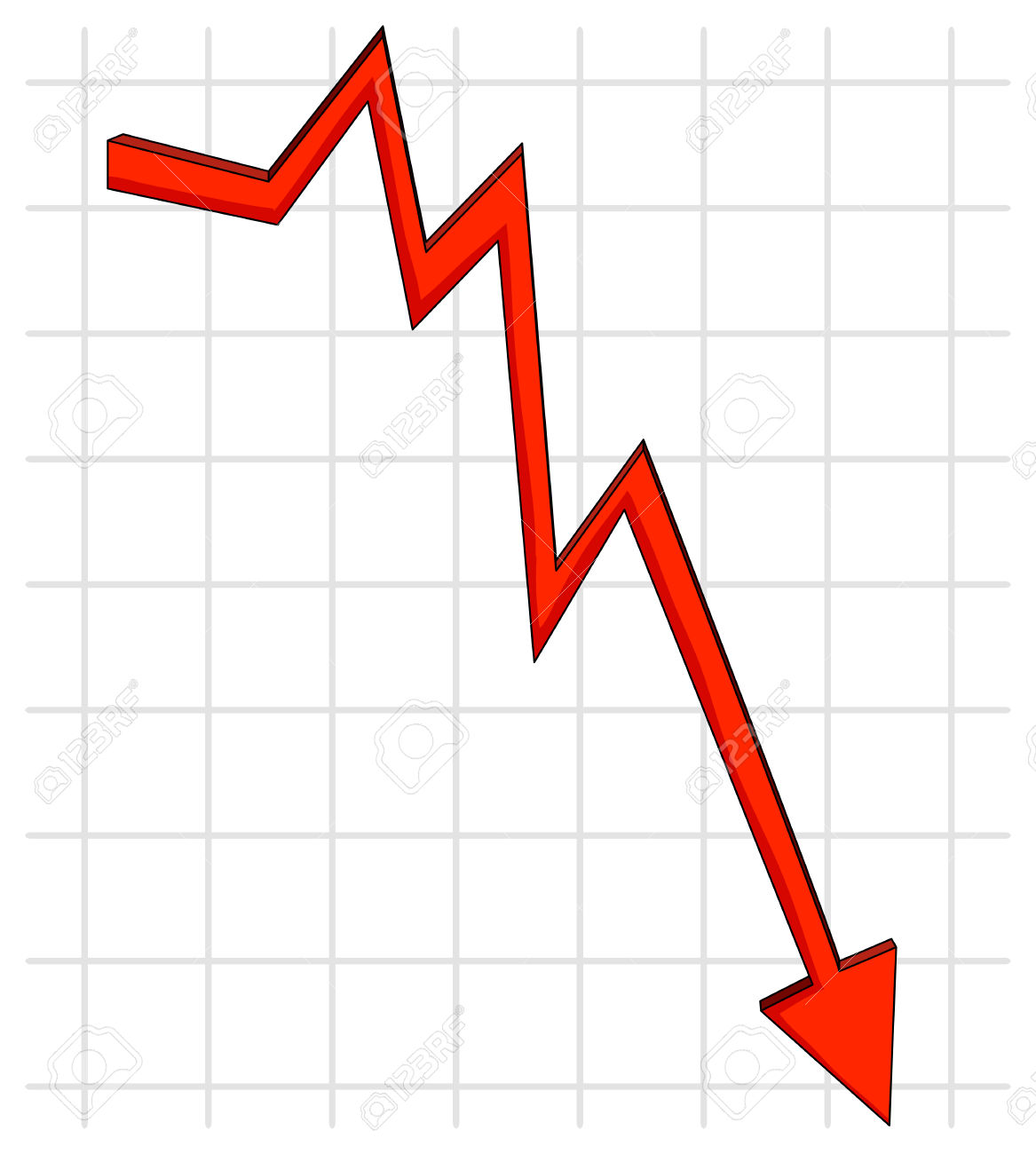 Decline image group red. Chart clipart downward