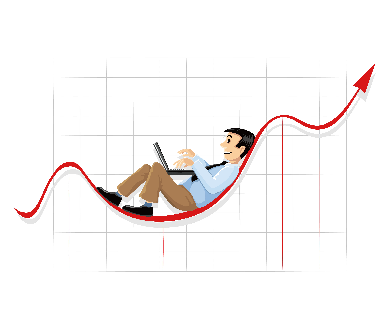Businessperson chart clip art. Economics clipart linear graph