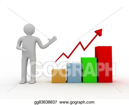 Drawing d man presenting. Chart clipart growth