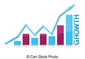 Pencil and in color. Chart clipart growth rate