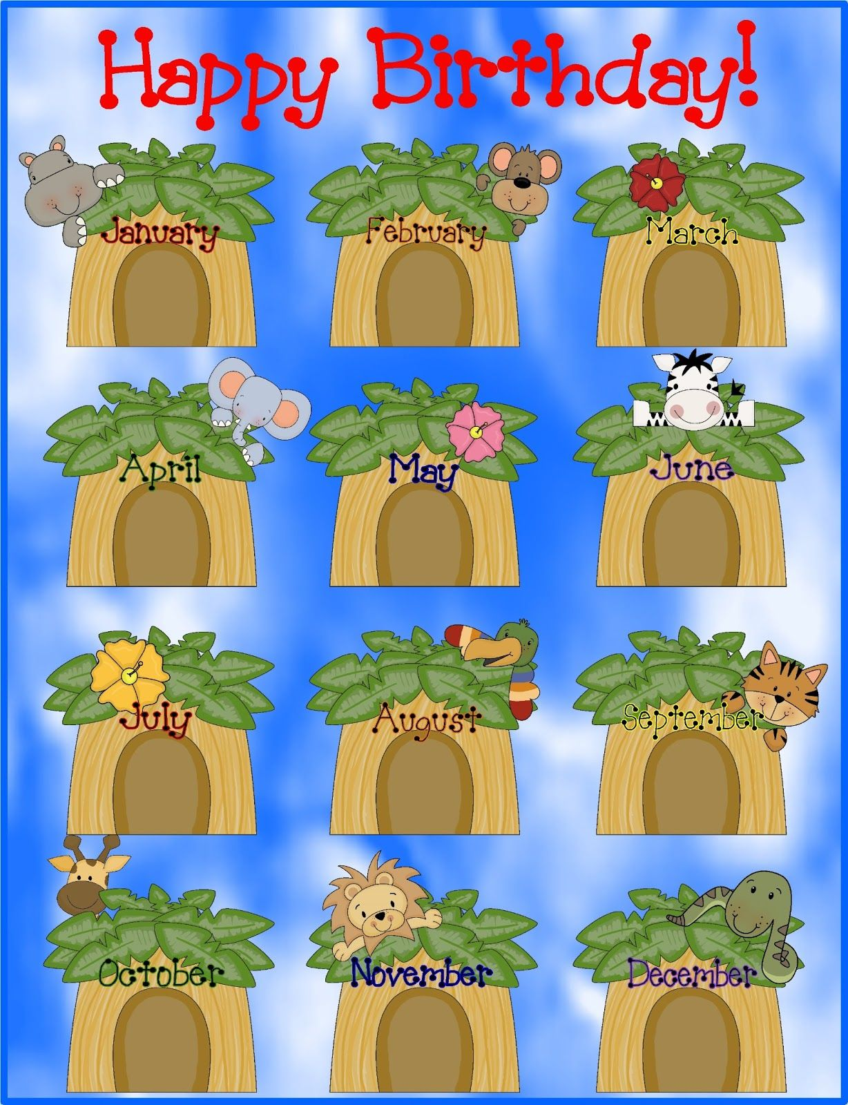 Free jungle themed classroom. Chart clipart happy birthday