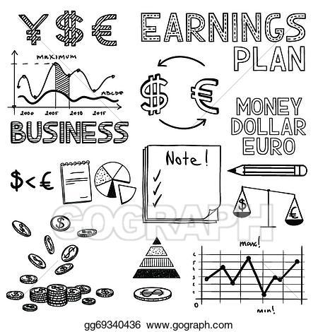 Vector art hand draw. Chart clipart money chart