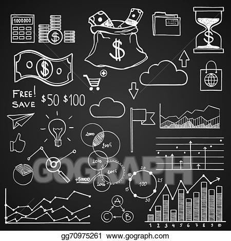 Vector illustration hand draw. Chart clipart money chart