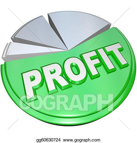 Chart clipart money chart. Stock illustration profit pie