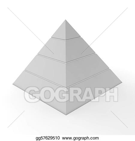 Drawing pyramid four levels. Chart clipart plain