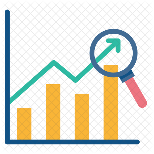 Financial year sales analytics. Graph clipart yellow