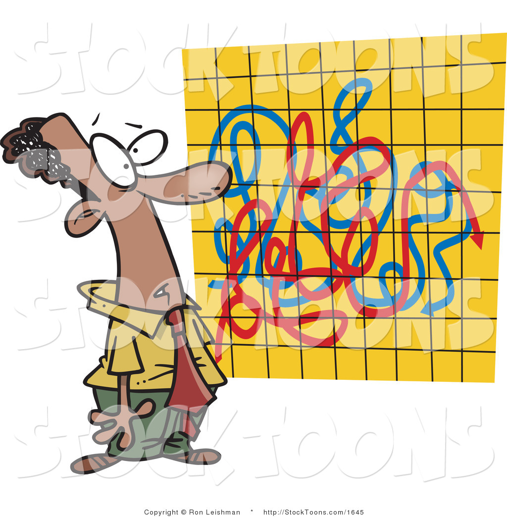 Chart clipart stock chart. Cartoon of a man