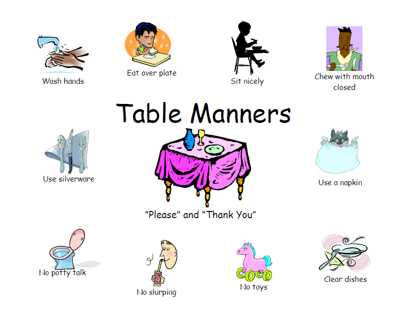 Chart clipart table chart. Free printable manners this