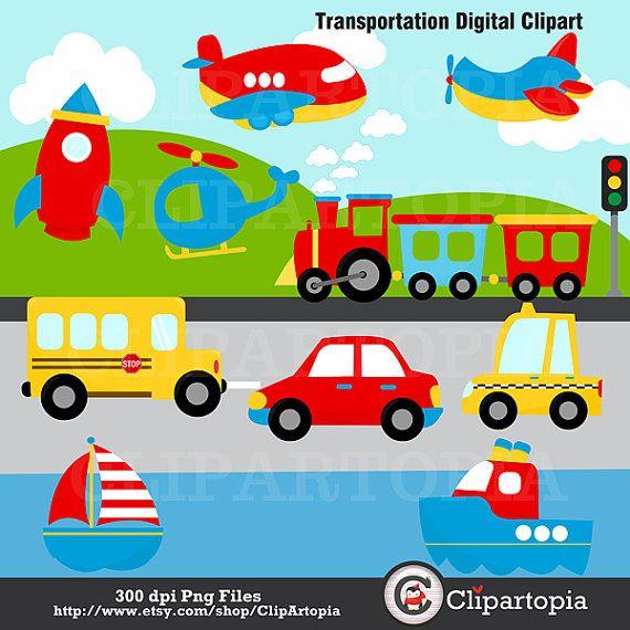 Clipart train plane. Transportation digital clip art