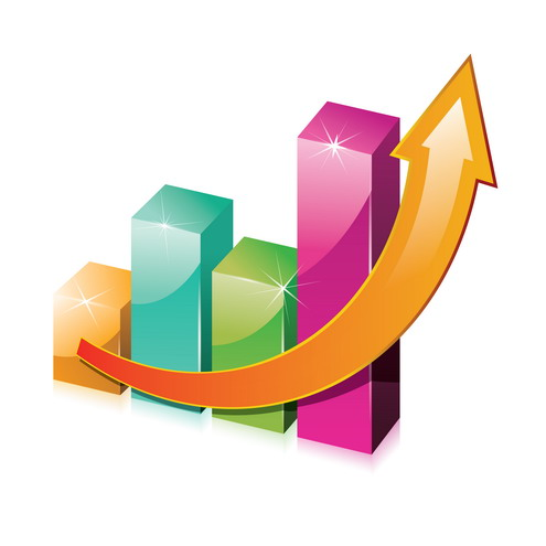 Charts with vector clip. Economy clipart arrow