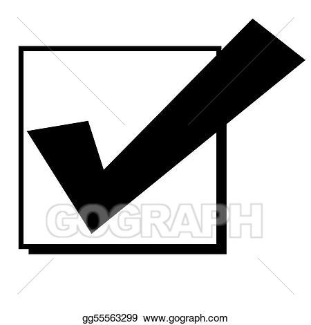 Checkmark clipart in box. Stock illustration check mark