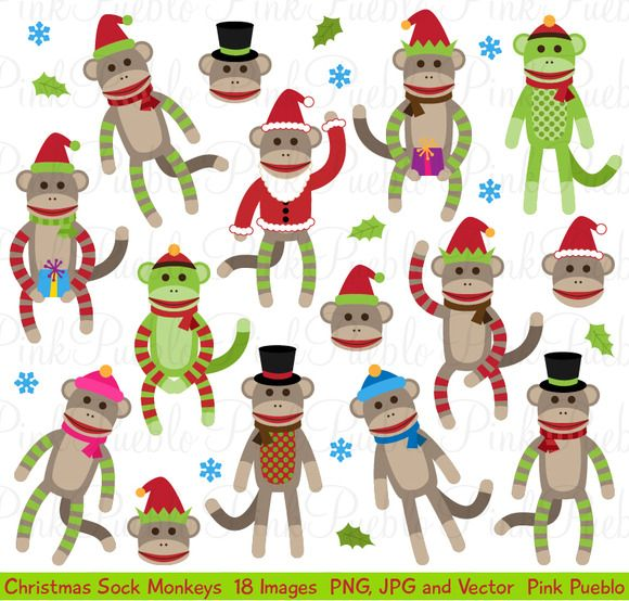 Check clipart illustrator. Out christmas sock monkey