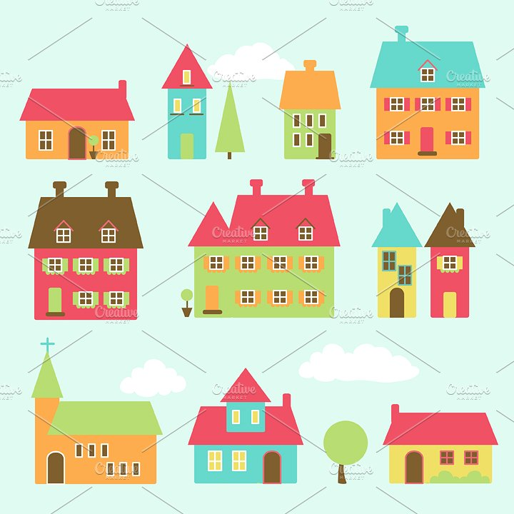 Village vectors and illustrations. Check clipart illustrator