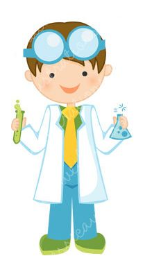 Scientist with test tubes. Barber clipart kid