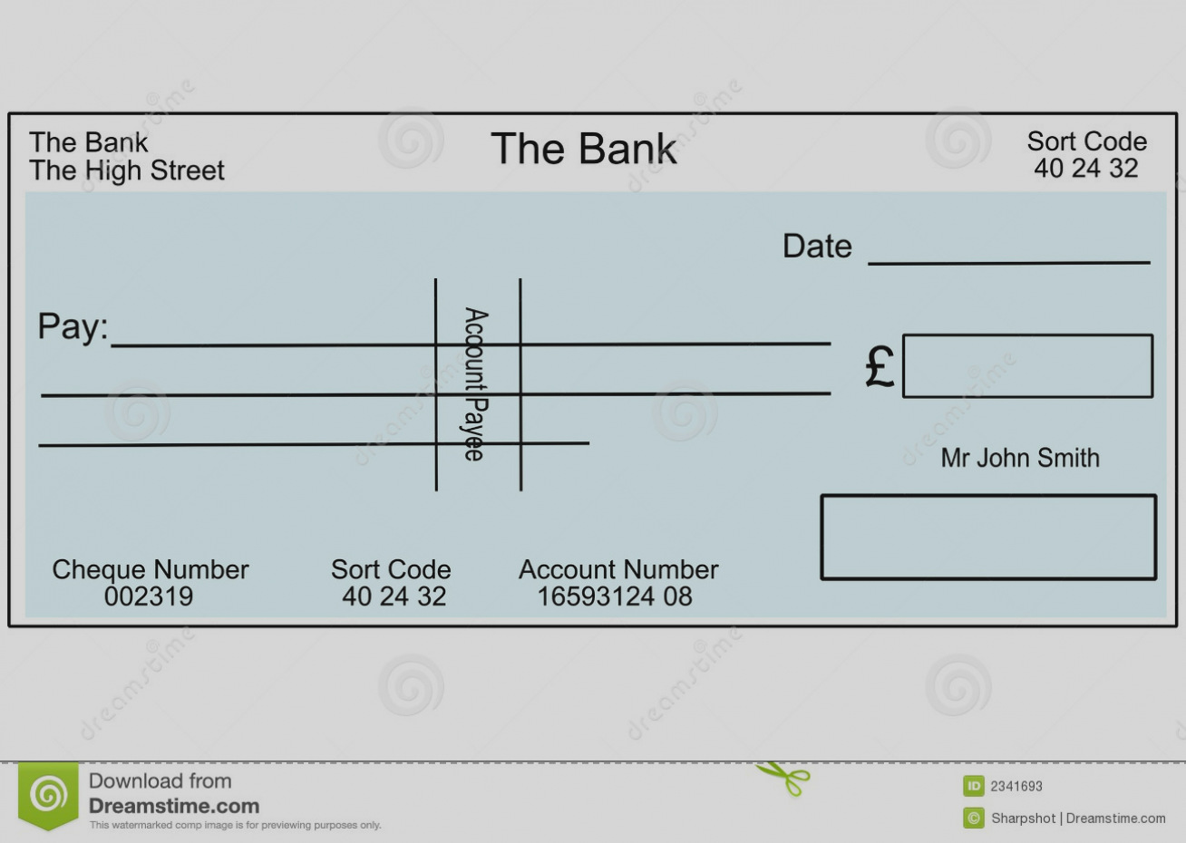 Collection of blank cheques. Check clipart template
