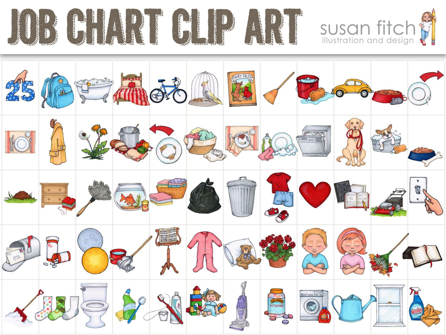 Schedule bag jobs for. Clipart kid chore