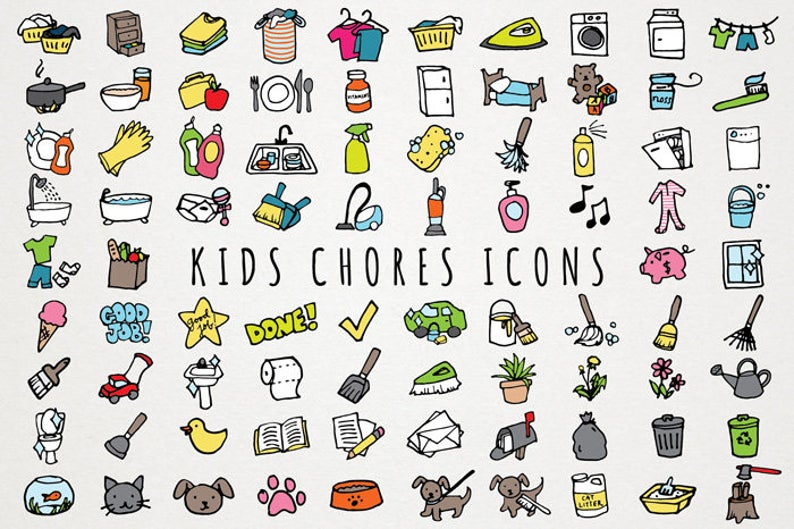 Kids chores icons set. Laundry clipart daily chore